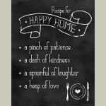 Framed Recipe For Happy Home