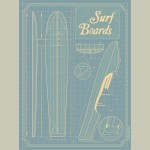 Canvas Surf Board Blue Print